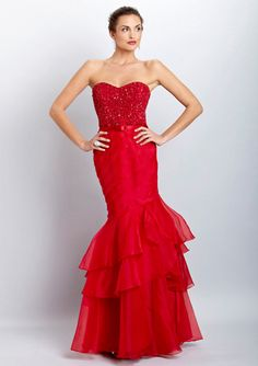 Theia Red Strapless Dress