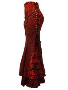 Gothic-CORSET-victoriano-steampunk-largo-Sirena-Fishtail-Vintage-Falda-Rojo-Jr