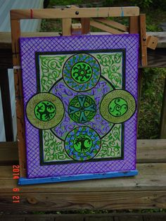 Irish motif with knotting acrylic on canvas 16x20 inches