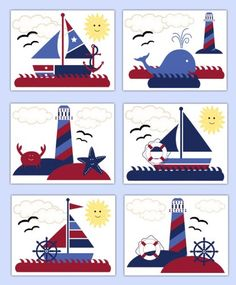 Nautical Sailboat Prints Wall Art Baby Boy Nursery Whale Anchor #decampstudios