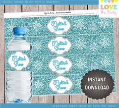 Frozen Inspired Water Bottle Wrapper or Napkin Ring, Winter Wonderfland INSTANT DOWNLOAD, DIY, printable, use for decor, around centerpieces