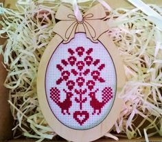 Rustic Easter tree hanging decor with cross stitched primitive floral ornament in red color. Hand embroidered egg in contry style - Ornamental Easter Tree, Easter Gift, Rustic Christmas, Christmas Ornaments, Tiny Cross Stitch, Handmade Decorations, Little Gifts, Etsy Handmade, Red Color