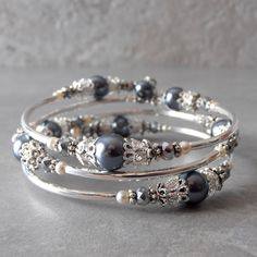 Pewter Gray Pearl Memory Wire Bracelet for Bridesmaids with Silver Filigree Beaded Bridal Party Jewelry Dark Grey Wedding Sets Triple Loop by FiveLittleGems on Etsy https://www.etsy.com/listing/268869241/pewter-gray-pearl-memory-wire-bracelet