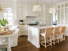 Woven Bar Stools, Kitchen Design, Kitchen Decor, Kitchen Ideas, All White Kitchen, White Kitchens, Dream Kitchens, Residential Interior Design, Beautiful Kitchens