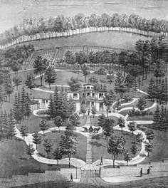 Hillforest estate in Indiana epitomizes a mid- 19th-century Romantic era landscape. Landscaped 1853.