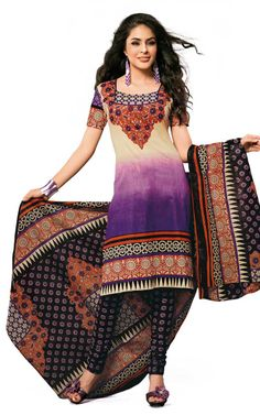 CREAM, PURPLE & BLACK COTTON SALWAR KAMEEZ - DISH 1019
