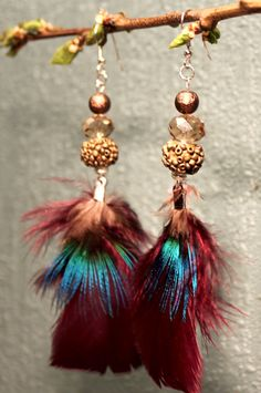 Iridescent turkey and peacock feather earrings Feather Earrings, Drop Earrings, Iridescent, Peacock, Handmade Jewelry, Turkey, Unique, Feathers, Turkey Country