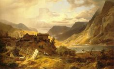 Landscape in the norwegian mountain (also known as Norwegische Gebirgslandschaft) (1840), Andreas Achenbach. #art #painting