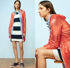 Tory Sport Collection by Tory Burch 2nd Delivery 2016 Spring Summer Womens Lookbook Presentation - Athleisure Performance Activewear Fitness Gym Sporty Swim Bikini Knit Sweater Jumper Tennis Volleyball Golf Stripes Parka Anorak Windbreaker Bomber Track Jacket Vest Nylon Fanny Pack Waist Pouch Belt Bag Dolphin Hem Shorts Hoodie Sweatshirt Check Grid Accordion Pleats Miniskirt Frock Shirt Blouse Sandals Leggings