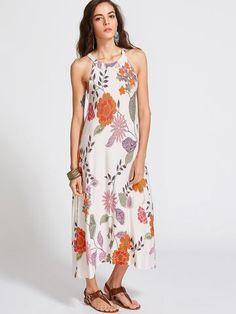 Botanical Print Halter Neck Midi Dress