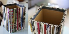 Box covered with rolled magazine paper - great for a wastebasket, storage bin, desk display.
