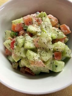 German Cucumber Salad! 2 medium cucumber -- sliced thin 4 green onions -- sliced thin 3 small tomatoes -- sliced 2 tablespoon fresh parsley -- snipped 1/4 cup sour cream 1/4 teaspoon prepared mustard 2 tablespoon fresh dill -- minced 1 tablespoon vinegar 1 tablespoon milk 1/2 teaspoon salt 1/8 teaspoon pepper