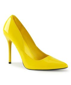 Make a statement in these pumps boasting a polished patent upper and a sky-high heel. Pumps Heels, Stiletto Heels, High Heels, Queen Of Hearts Costume, Yellow Pumps, Spike Heels, Vegan Fashion, Shoe Size Conversion, 2 Inch Heels