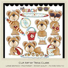 NEW Beach Bears Teddy Bear Clip Art by Trina Clark by marlodeedesigns, $1.25