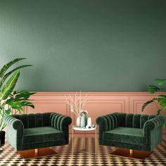 PANTONE's 2020 colour forecast includes natural blues & greens Green Interior Design, Classic Interior, Interior Walls, Interior Sketch, Simple Interior, Interior Plants, Interior Lighting, Colorful Decor, Colorful Interiors