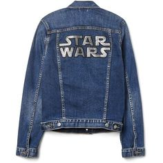 Gap Star Wars Icon denim jacket ($98) ❤ liked on Polyvore featuring outerwear, jackets, jean jacket, denim jacket, blue jean jacket, blue denim jacket and blue jackets