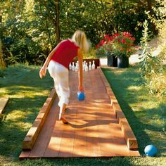 "Good Ideas For You | DIY backyard bowling alley, it would be fun to have a little ""game"" area of the backyard - chess/checkers, horse shoes, croquet, volleyball included! plus a covered sandbox and playground for the grandkiddos! Do we have anyone crafty enough to build this?!"