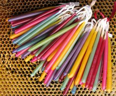 60  Rainbow Birthday Candles, Beeswax Birthday Candles, Hand Dipped Birthday Candles, Honey ScentedTapers, Coloured Beeswax Candles