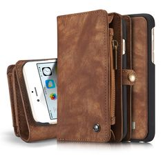 CaseMe Brand For Apple iPhone 6 6S + Plus Case Luxury Genuine Leather craft phone Cover Wallet Magnet Flip Stent Card slot Cases #Affiliate