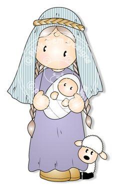 Digital (Digi) Nativity Chloe. Makes Cute Christmas Cards