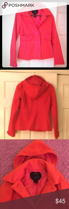 Jack by BB Dakota hooded peacoat EUC worn once or twice.  Great red color with removable hood! Jack by BB Dakota Jackets & Coats Pea Coats