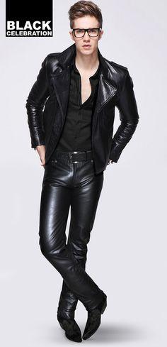 Men's leather jacket & jeans