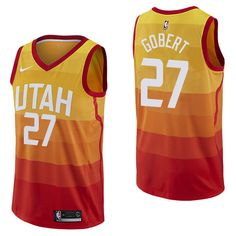 83496cb291f ... usa men 27 rudy gobert jersey city edition yellow orange utah jazz.  rodney hoodkyrie irving
