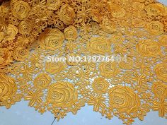 100% polyester materials yellow african cord / guipure lace fabric for nigerian wedding dresses TS751