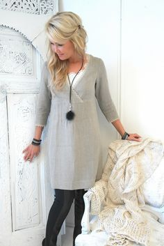 JANE Dress with sleeves, NATURAL