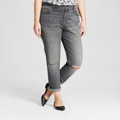 Women's Plus Size Boyfriend Jeans Nickel Black 18W - Ava & Viv