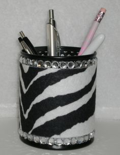 Zebra Print & Bling Pen/Pencil Cup Holder by LaurieBCreations, $6.00