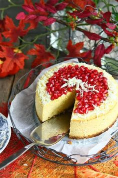 Pumpkin Quark Cheesecake with Pomegranate and White Chocolate