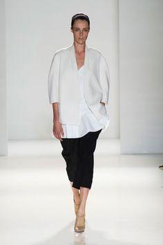 New York Fashion Week Spring 2014 Victoria Beckham Runway White Blouse and Black Skirt - Best New York 2014 Runway Fashion - Harper's BAZAAR
