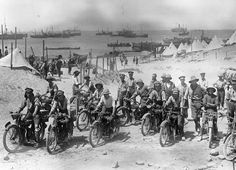 20 1915, British soldiers on motorcycles in the Dardanelles, part of the Ottoman Empire, prior to the Battle of Gallipoli. (Bibliotheque na...