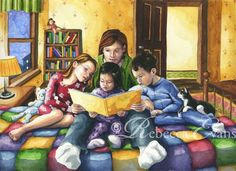 Illustration Art Print of Mother Reading to by RebeccaEvans