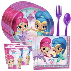 Shimmer and Shine Standard Tableware Kit (Serves Toy Cars For Kids, Cool Toys For Girls, Diy For Kids, Frozen Cupcake Toppers, Unicorn Cupcakes Toppers, Baby Girl Toys, Baby Dolls, Shine Costume, Cheeseburger Cake