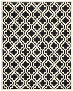 Sandra Black Geometric Wool Hand-Tufted Area Rug