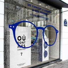 "Super fun branding from COLETTE in Paris,France, ""Où sont mes lunettes?"", (Where are my glasses? Shop Window Displays, Store Displays, Visual Merchandising, Vitrine Design, Optical Shop, Window Graphics, Clinic Design, Retail Windows, Shop Interiors"