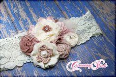 Blush, Ivory Headband, Bridal Hair Piece, Hair Accessories, Bridesmaid Hair Piece, Wedding Hair, Rose, Baby Hair Bow, Fabric Flower Brooch
