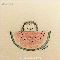 1234 #スイカ #watermelon #illustration #hedgehog #イラスト #ハリネズミ #なみはりねずみ #illustagram