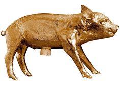 AREAWARE - Bank in the form of a Pig by Harry Allen Gold - Sparschwein: Amazon.de: Küche & Haushalt