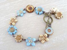 Floral Bracelet ,Flower Bracelet, Czech Glass Bracelet, Blue Bracelet, Caramel…