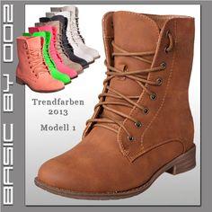 Damen Schnürboots Stiefeletten Stiefel Schuhe Schnürschuhe Boots Schnürer