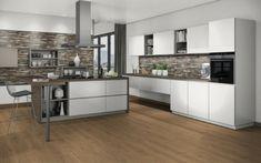 Combine melamine Alabaster & Graphite Grey with counter Natural Halifax Oak. Kitchen, Table, Room, Furniture, Counter, Design, Home Decor, Grey, Graphite