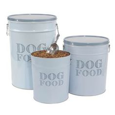tin dog food storage containers -for my weimy's food Food Dog, Dog Food Recipes, Mommy Loves You, Dog Food Storage, Tin Cans, Shiba Inu, Storage Containers, Diy Art, Puppy Love
