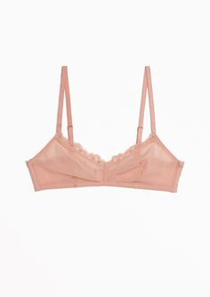 & Other Stories image 1 of Scalloped Lace Soft Bra in Powder Pink