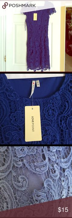 NWT royal blue lace dress. Never been worn royal blue lace dress. Damaged area shown in picture. Could be fixed if you know how to sew. Size medium. Dresses Midi