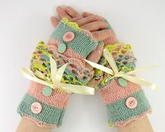 Knit fingerless gloves arm warmers fingerless mittens by piabarile, $29.00