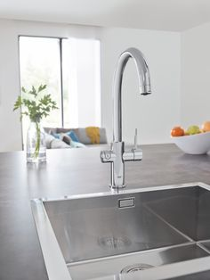 GROHE Red, Kettle Hot Water on Demand. Kettle hot water straight from the tap – safely and instantly. Grohe Red, Grohe Blue, Kitchen Dining, Kitchen Cabinets, Kitchen Appliances, Home Cooler, Cooling Unit, Blue Filter, Kitchen Collection