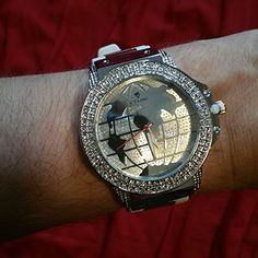 White Band ICE KING Bling Watch Rhinestone Diamond Stainless Steel Rubber Band ICE KING http://www.amazon.com/dp/B00T8A176Y/ref=cm_sw_r_pi_dp_MP80ub0JBS4RW